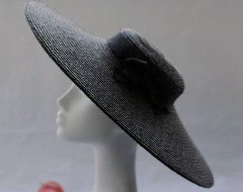Black Paris Pancake - Wide Brim Hat - Straw Hat - Wedding Hat - Womens Oversized Black Hat
