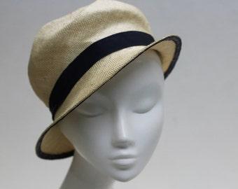 The Carmen Hat - 1920's Hat - Cloche w/ Navy Petersham Ribbon in Ivory - Wedding Hat