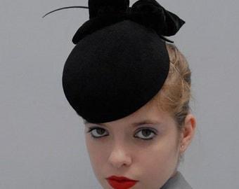 The Black Apple Hat - Felt Pillbox Hat w/Silk Velvet Bow - Wedding Hat - Formal Hat - Cocktail Hat - Millinery