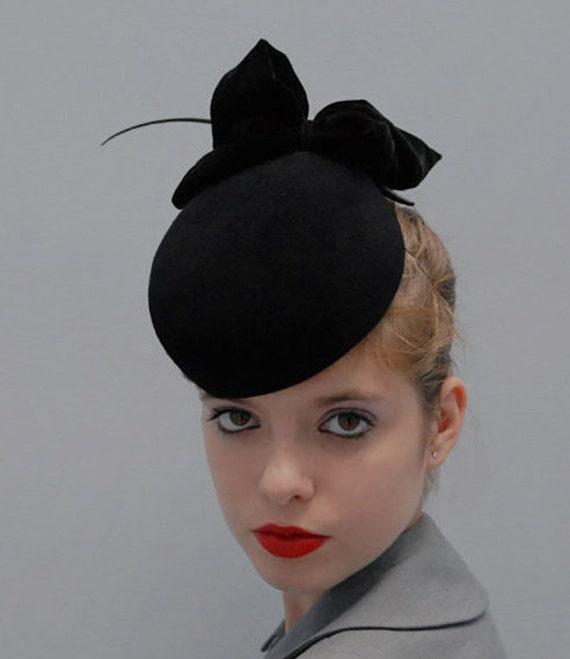 Black Pillbox Hat w/Silk Velvet Bow - Wedding Hat - Timeless - Black Cocktail Hat- Black Apple