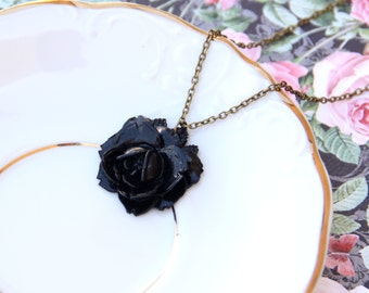 Romanic Black Rose Necklace, Black Rose Jewelry, For Her