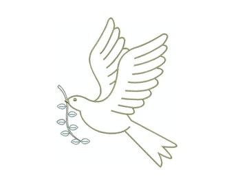 Christmas dove, machine embroidery design