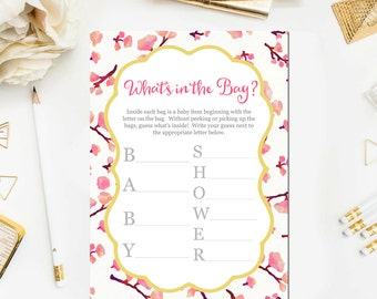 Pink Floral Whatu0027s In The Bag Baby Shower Game, Baby Shower Game Printable,  Baby