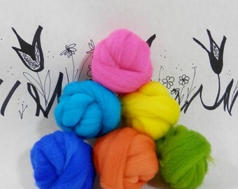 Wooly Buns wool roving assortment, 6 piece hand dyed fiber, needle felting supplies in Neon, 1.5 oz neon assortment