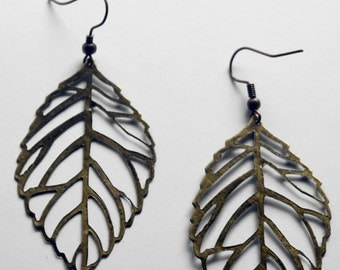 Leaf Earrings - Antiqued Brass 50mm x 30mm