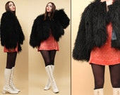 70s Vtg Black Mongolian SHAGGY Coat / Genuine Sheep Fur Extra Long Tibetan Lamb / GLAM Grunge Boho Mod Stroller / Mint! Medium - Large