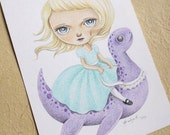 ON SALE 50% Discount, Big Eyed Girl Art with Nessie the Loch Ness Monster, Original Colored Pencils Drawing