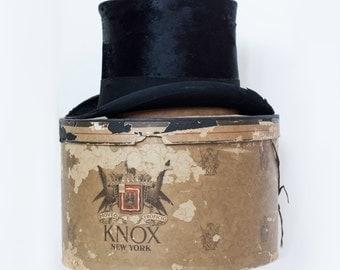 Edwardian Era Beaver Fur Top Hat By Knox New York