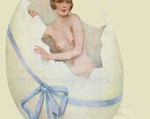 French Art Deco Easter Egg Print, Pink Nude Peach Bathroom, French Home Style Bedroom Wall Decor, Bedroom Home Decor, Nude Art Deco Girl