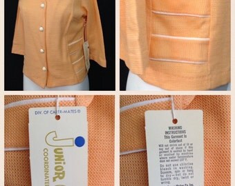 Vintage NOS Deadstock 1960s Sherbert Orange 4 Button Cotton Knit Cardigan Sweater Jacket / Women's Medium / 60s Mod Blazer Unworn