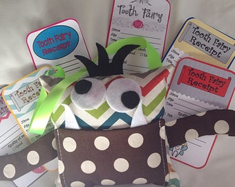 Crazy Little Monster Tooth Fairy Pillow with Tooth Fairy Receipts