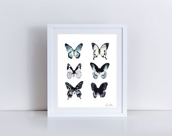 Butterfly Collection Collage Moths Entomology Giclee Print of Watercolor Natural History Bug Cottage Chic Nursery Art Wings Illustration