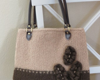Knit Bag Pattern, Felted Purse Pattern, Knitting Pattern, Instant Download, PDF, Cafe au Lait - Knitting patterns by Deborah O'Leary