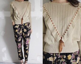 Vintage Tan Ruffle Sweater XS-S