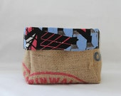 Upcycled Coffee Sack and African Dutch Wax Print Slouch Storage Basket Large