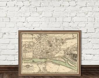Map of Rouen - Plan de la ville de Rouen - Rouen map archival reproduction