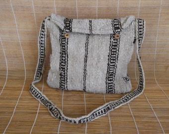 Vintage  Off White Brown Stripes Shepard Shoulder Strap Bag Purse Cross Body