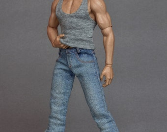 1/ 6 scale grey tank top vest for: regular size collectible movable action figures and male fashion dolls