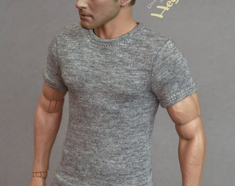 1/6th scale grey T-shirt for: male figures and dolls