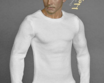 1/6th scale white long sleeve T-shirt for: action figures and male fashion dolls