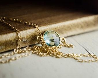 Green Amethyst Necklace - Bezel Necklace | Green Quartz | Everyday Simple Jewelry