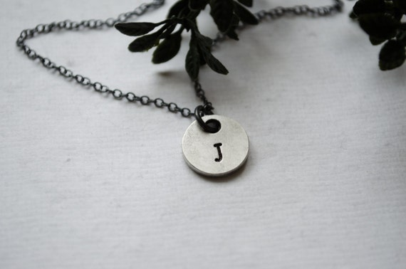 Heavy Pewter Double Sided Initial Necklace | Oxidized Sterling Silver Chain or Black Leather Cord | Antiqued Pewter Disc | Personalized
