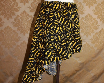 "High Low Mini Cecilia Skirt -- Black/Yellow Bat Symbols -- Ready to Ship -- Fits Up To 38"" Waist"