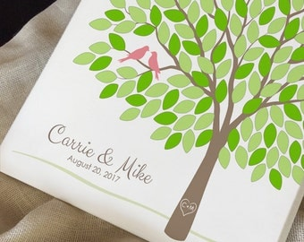 Modern Wedding Tree Guest Book Alternative, Unique Wedding Tree Guest Book, Personalized Anniversary Poster, 50-300 Guests, Canvas or Print