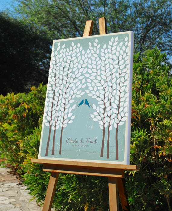 Wedding Tree Signature Guest Book Alternative, Unique Wedding Tree GuestBook, Personalized Love Birds Poster, 50-300 Guests, Canvas or Print