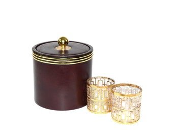 Brown Ice Bucket Ice Bucket Brown and Gold Ice Bucket Vintage Ice Bucket Erwyn Ice Bucket