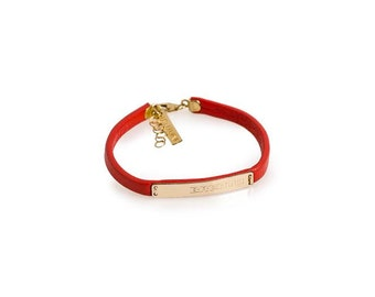 Mantra bracelet, Personalized Mantra Bracelet Bridesmaid gift , Red Leather bracelet, Rose gold Personalized bracelet,Stamped jewelry