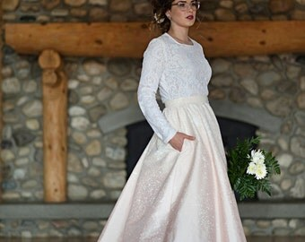 Etta - Lee Wedding Dress /// Full Blush Silk Skirt handpainted//Pockets//long sleeve lace shirt