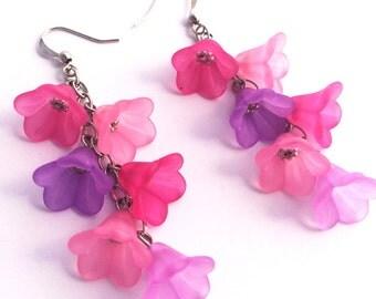 Pink Earrings - Lucite Flower Earrings - Nickel Free Earrings - Purple Earrings - Pink Bridesmaid earrings - Pink wedding - Beach wedding