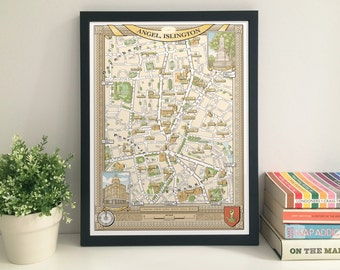 Angel (London N1) illustrated map giclee print