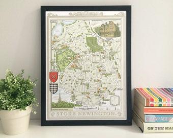 Stoke Newington (N16) illustrated map giclee print