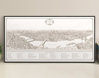 Panorama of London [annotated version] giclee print