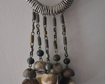 MEXICO Dona 1960's Artisan Handmade Hand Wrought Necklace Chain Pre-Columbian Ancient Stone Beads, One of a Kind RARE
