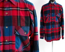 Vintage Red and Blue Plaid Thick Flannel Longsleeve Button Up Large