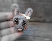 Felt bunny brooch, cute gray rabbit, grey hare pin, needle felted, kawaii style, fiber jewelry, small gift for her, animal head brooch