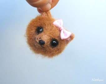 Dog brooch, fluffy felt dog, pomeranian pin, needle felted, kawaii style, brown bear, felt fox, cute animal, head brooch, gift for her