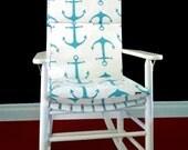 Rocking Chair Cushion Cover - Anchors Blue