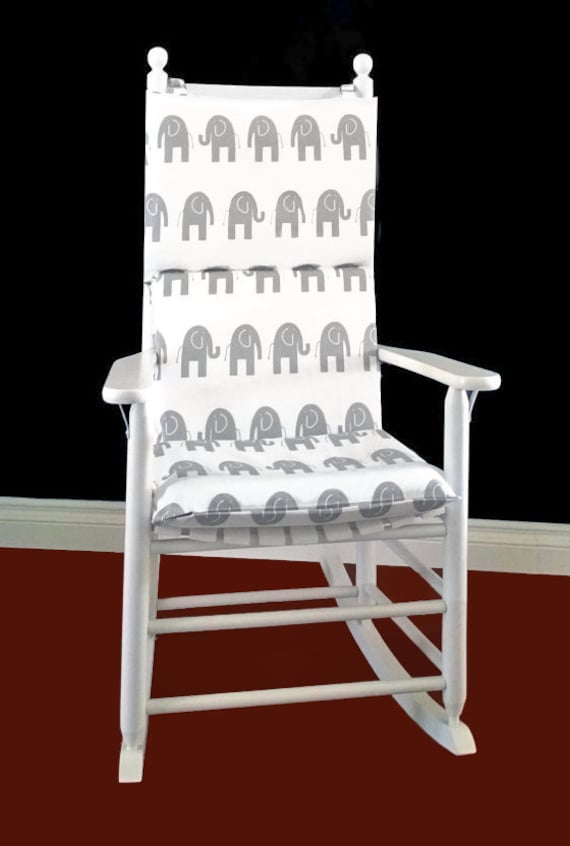 Rocking Chair Cushion Cover - White Grey Elephants, Ready to Ship
