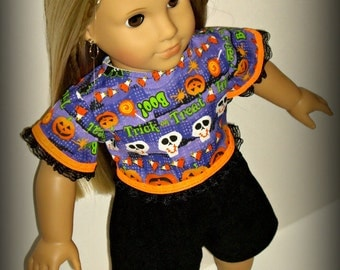 18 inch Doll Clothes for Halloween, Top and Shorts, Handmade to fit dolls such as American Girl, Our Generation, Halloween Outfit