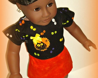 Handmade Halloween Doll Clothes Outfit, for 18 inch Dolls such as American Girl, Our Generation, Black and Orange, Halloween Fashion