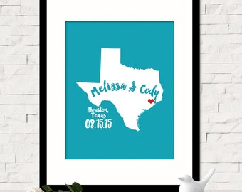 Personalized Texas State Wall Art - Custom Name Map - Personalized Wedding Location Date State Map Print - Wedding Gift for Her - ANY STATE