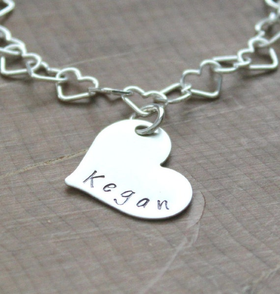 Children's Name Bracelet, Girls Heart Shape Name Bracelet, Adjustable Hand Stamped Sterling Silver, Personalized Girls, Birthstone Bracelet,