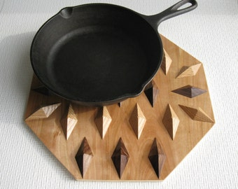 Geometric Wood Hot Pad.  Home decor kitchen trivet or table centerpiece. Woodwork decor