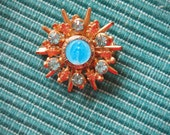 """Vintage 40's- 50""""s Sparkly Enameled VIRGIN MARY Miraculous Medal Brooch-  Vibrant colors"""