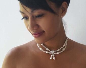 Macrame Pearl Choker Necklace, Boho Wedding Necklace, Bridal Pearl Collar, Rhinstone Necklace