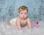 Baby Hair Accessories - Gold Baby Headband - Gold 1st birthday Headbands - Baby Girl Headband Baby Headbands  Infant Headband - Silver Bows